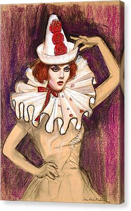 Canvas Print featuring the drawing Fashion Clown by Sue Halstenberg