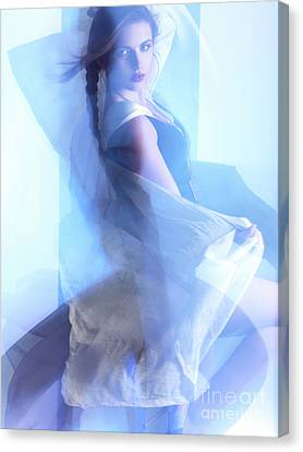Fashion Photo Of A Woman In Shining Blue Settings Canvas Print by Oleksiy Maksymenko