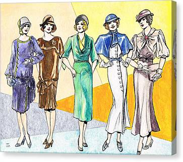 Fashions Ladies 1920s And 1930s Canvas Print by Mel Thompson