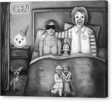 Fast Food Nightmare Bw Canvas Print by Leah Saulnier The Painting Maniac