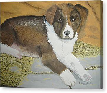 Canvas Print featuring the painting Fat Puppy by Norm Starks
