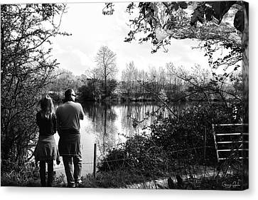 Father And Daughter - River Dee Chester Canvas Print by Georgia Fowler