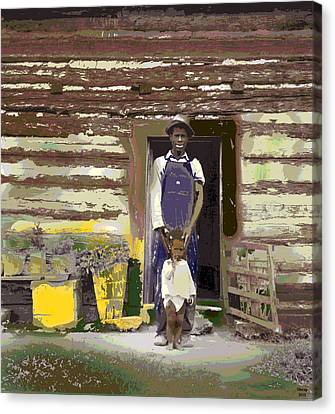 Log Cabins Canvas Print - Father And His Son by Charles Shoup