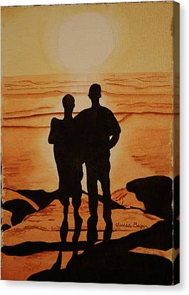 Canvas Print featuring the painting Father And Son by Teresa Beyer