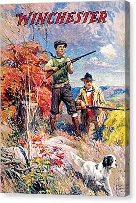 Father And Son With Bird Dog Canvas Print by Arthur S Fulton