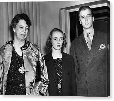 Fdr Presidency. From Left First Lady Canvas Print by Everett