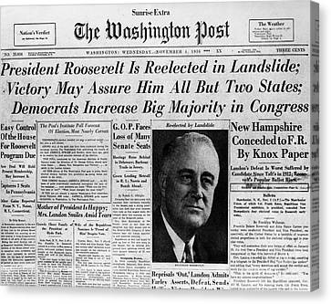 Fdr: Reelection, 1936 Canvas Print by Granger