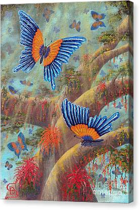 Canvas Print featuring the painting Feather Butterflies From Arboregal by Dumitru Sandru