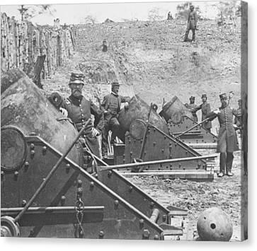 Federal Siege Guns Yorktown Virginia During The American Civil War Canvas Print