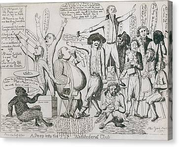 Federalist Cartoon Of 1793 Shows Canvas Print by Everett