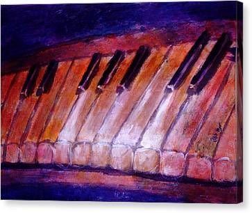 Feeling The Blues On Piano In Magenta Orange Red In D Major With Black And White Keys Of Music Canvas Print
