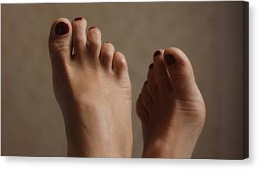 Feet Of A Happy Woman After Coupling Canvas Print by Svetlana  Sokolova
