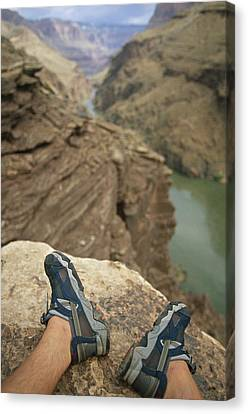 Feet Shod In River Shoes On An Overlook Canvas Print by Bobby Model