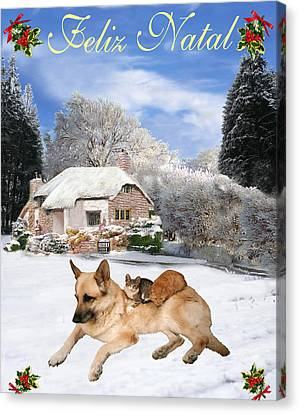 Friend Holiday Card Canvas Print - Felix Natal German Shepherd Holiday Portuguese Christmas Card by Eric Kempson