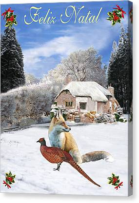 Felix Natal Portuguese Christmas Fox And Pheasant Canvas Print