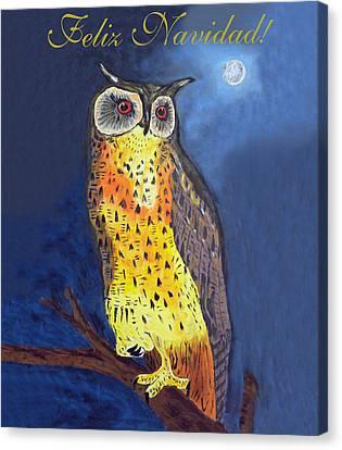 Felix Navidad Christmas Owl Eagle Owl Canvas Print