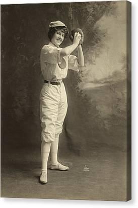 Female Baseball Player Canvas Print by Granger