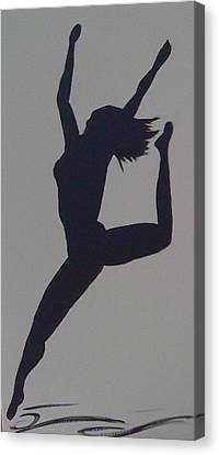 Canvas Print featuring the painting Female Dancer Silhouette by Judi Goodwin