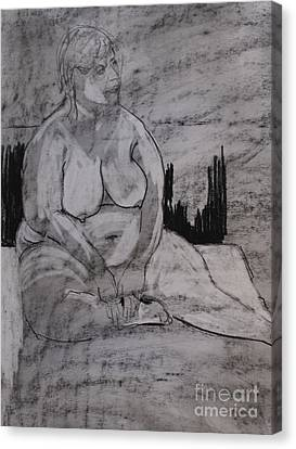 Female Nude Seated Canvas Print by Joanne Claxton