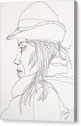 Canvas Print featuring the drawing Female Portrait 017 by Rand Swift