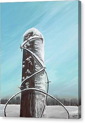 Fence Post In Winter Field Canvas Print by David Junod