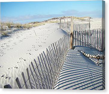 Fences Shadows And Sand Dunes Canvas Print by Mother Nature