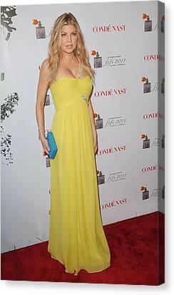 Fergie Wearing A Bcbg Max Azria Atelier Canvas Print by Everett