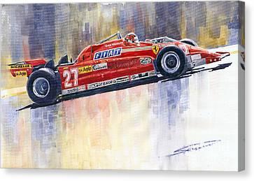 Red Ferrari Canvas Print - Ferrari 126 Ck Gilles Villeneueve Spanish Gp 1981 by Yuriy  Shevchuk
