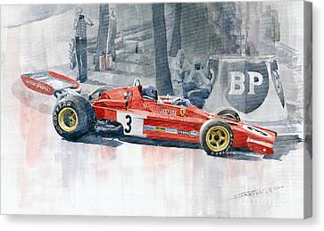 Ferrari 312 B3 Monaco Gp 1973 Jacky Ickx Canvas Print by Yuriy  Shevchuk