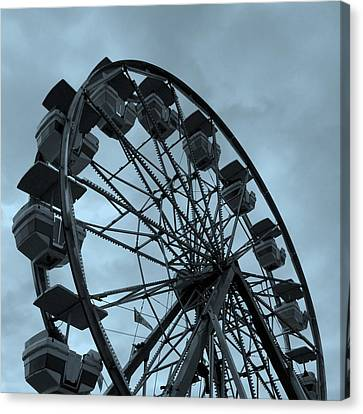 Canvas Print featuring the photograph Ferris Wheel Blue Sky by Ramona Johnston