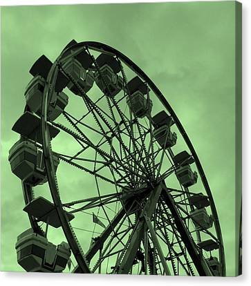 Canvas Print featuring the photograph Ferris Wheel Green Sky by Ramona Johnston