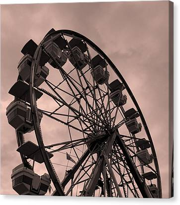 Canvas Print featuring the photograph Ferris Wheel Pink Sky by Ramona Johnston
