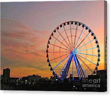 Canvas Print featuring the photograph Ferris Wheel Sunset 2 by Eve Spring