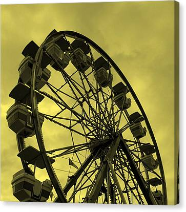 Canvas Print featuring the photograph Ferris Wheel Yellow Sky by Ramona Johnston