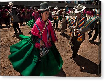 Andes Canvas Print - Festival Of Dance And Traditional Music. Population Of Tiwanaku. Republic Of Bolivia. by Eric Bauer