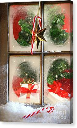 Festive Holiday Window Canvas Print by Sandra Cunningham