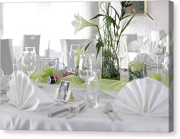 Festive Table In A Restaurant Canvas Print