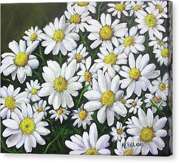 Canvas Print featuring the mixed media Field Of Daisies by Mary Kay Holladay