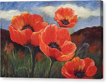 Field Of Orange Poppies Canvas Print