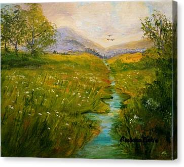 Field Of Queen Anne's Lace Canvas Print by Barbara Pirkle