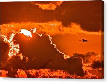 Canvas Print featuring the photograph Fiery Skies by Scott Holmes