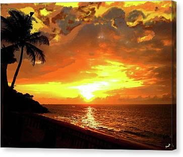 Fiery Sunset Canvas Print by Yiries Saad