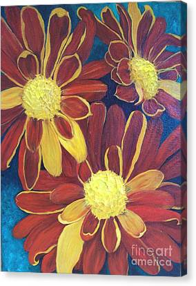 Canvas Print featuring the painting Fiesta Daisies by Lucia Grilletto