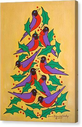Fiesta Of Robins Canvas Print