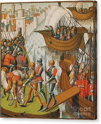 Fifth Crusade Siege Of Damietta 1218 Canvas Print by Photo Researchers