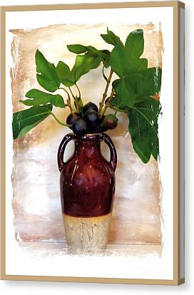 Fig Branch In Europeon Pottery Canvas Print by Marsha Heiken