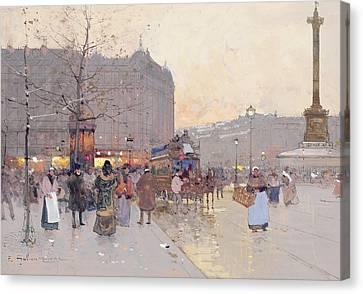 Figures In The Place De La Bastille Canvas Print