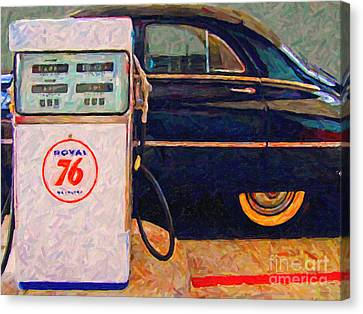 Fill Her Up At The Old Royal 76 Gas Station Canvas Print by Wingsdomain Art and Photography