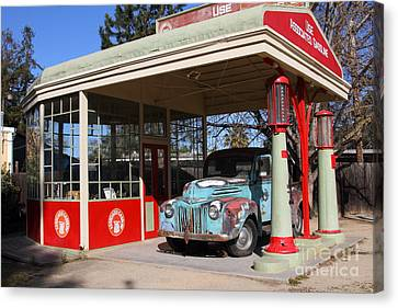 Old American Truck Canvas Print - Filling Up The Old Ford Jalopy At The Associated Gasoline Station . Nostalgia . 7d12880 by Wingsdomain Art and Photography