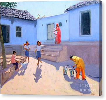 Sari Canvas Print - Filling Water Buckets by Andrew Macara